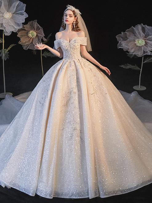 Sequins Tulle Off the Shoulder Beading Wedding Dress