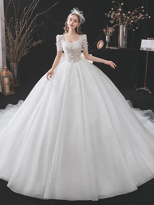 White Sequins Tulle Square Short Sleeve Beading Wedding Dress
