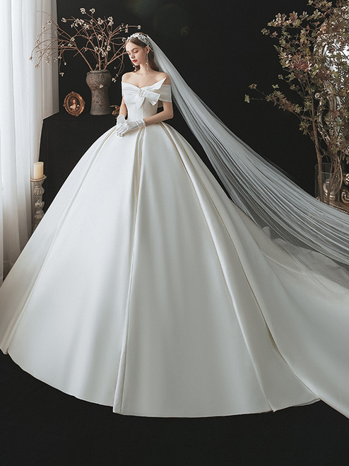White Satin Off the Shoulder Wedding Dress With Train