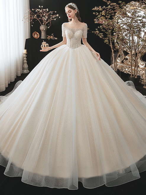 Champagne Tulle Sequins Off the Shoulder Pearls Wedding Dress