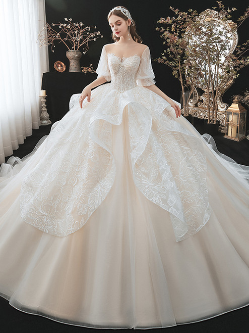 Champagne Lace Tulle Puff Sleeve Beading Wedding Dress