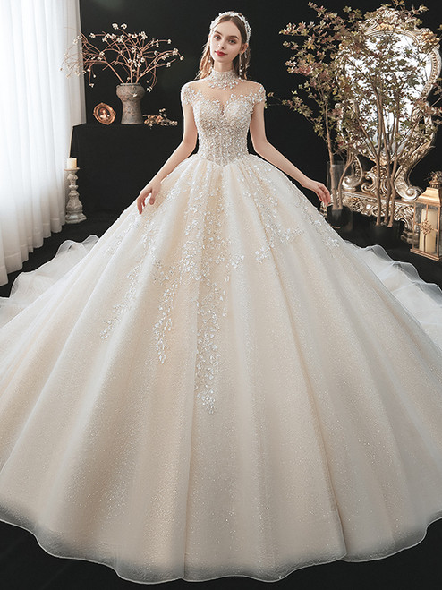 Tulle Sequins High Neck Cap Sleeve Beading Appliques Wedding Dress