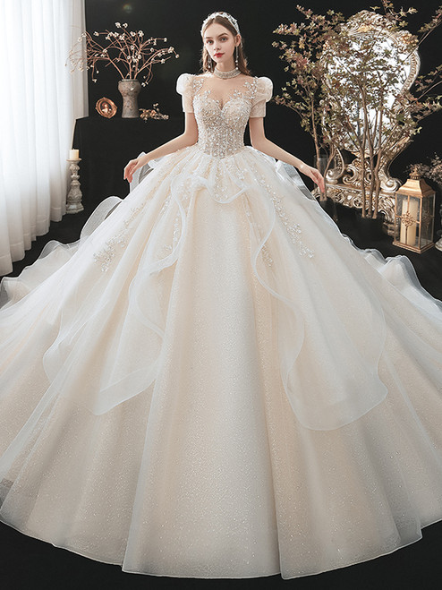 Champagne Tulle Sequins Puff Sleeve Beading Wedding Dress
