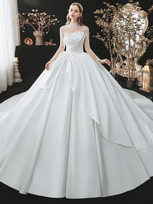 White Satin Long Sleeve High Neck Wedding Dress