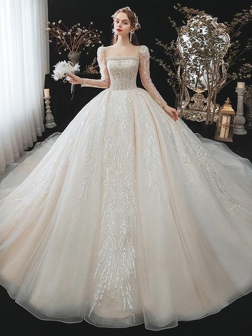 Sequins Square Long Sleeve Beading Wedding Dress