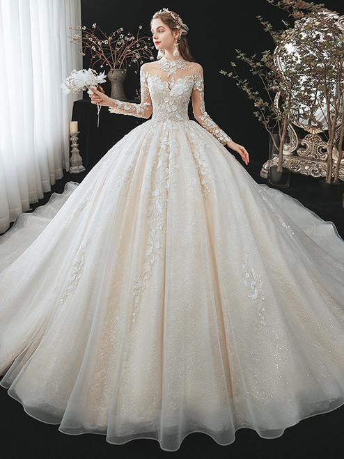 Ball Gown Sequins Tulle High Neck Long Sleeve Wedding Dress