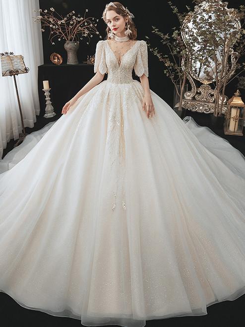 Tulle Sequins Short Sleeve Illusion Neck Beading Wedding Dress