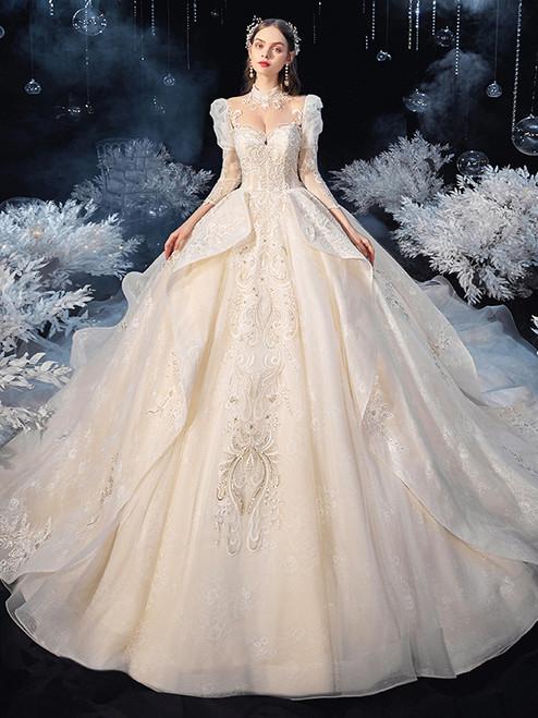 Long Sleeve Tulle High Neck Beading Pearls Wedding Dress