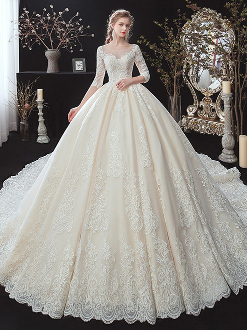 Champagne Tulle Appliques 3/4 Sleeve Wedding Dress