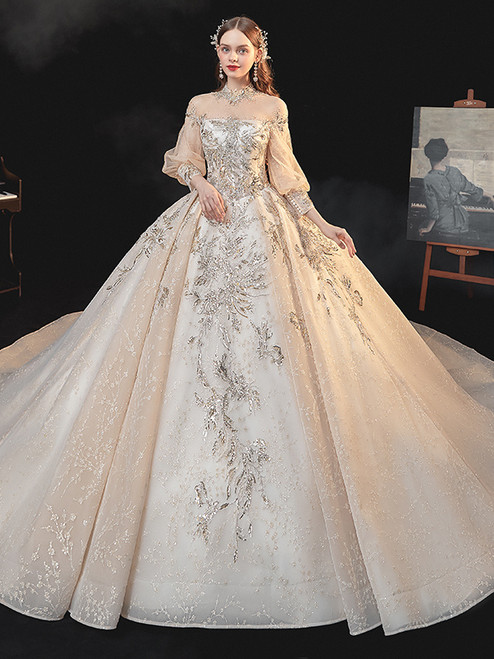 Dark Champagne Tulle Long Sleeve Sequins Appliques Wedding Dress