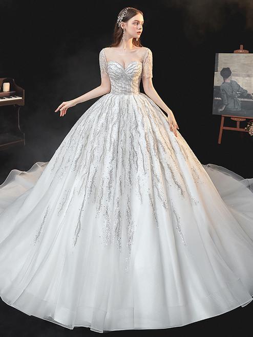 White Tulle Sequins Short Sleece Wedding Dress