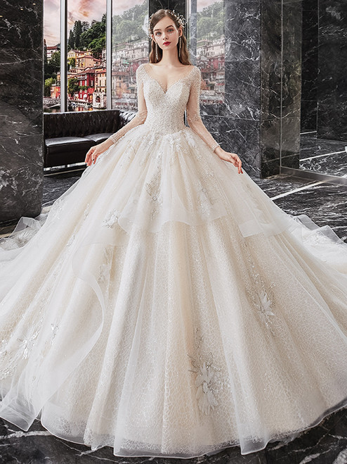 Tulle Sequins Long Sleeve Sequins Beading Wedding Dress