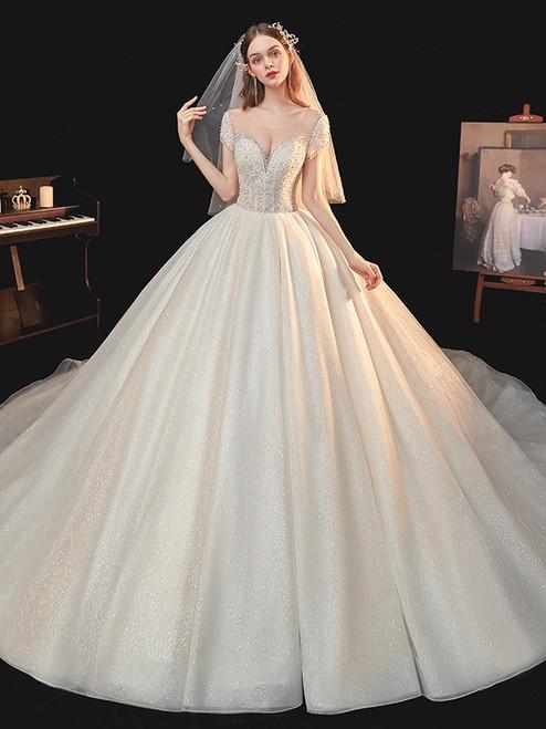 Tulle Sequins Beading Open Back Cap Sleeve Wedding Dress