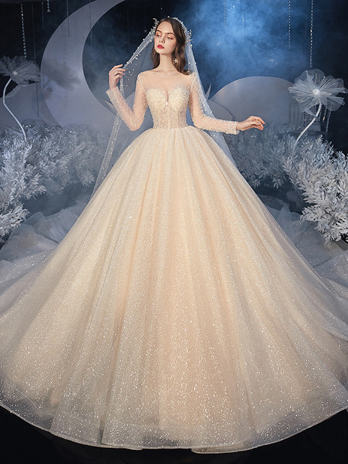 Tulle Sequins Long Sleeve Beading Backless Wedding Dress