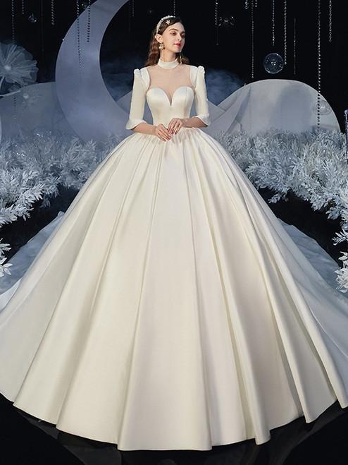 White Satin High Neck Short Sleeve Wedding Dress