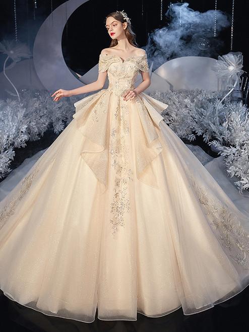 Dark Champagne Tulle Sequins Appliques Wedding Dress