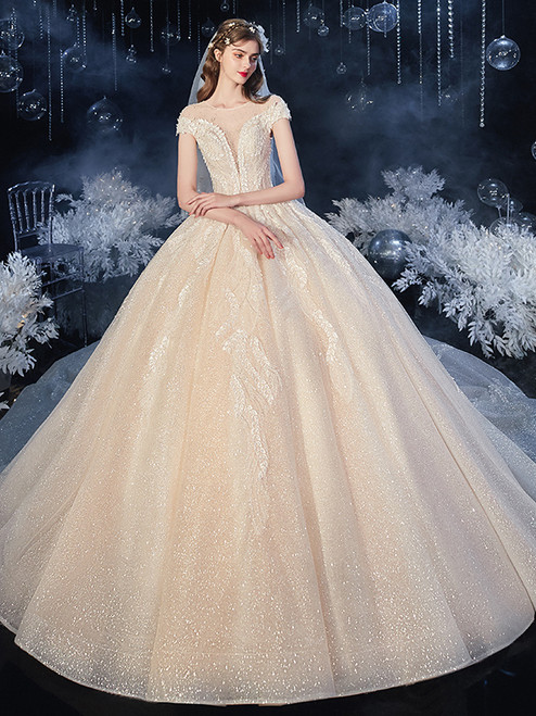 Tulle Sequins Backless Cap Sleeve Beading Wedding Dress