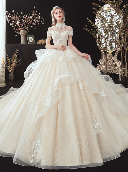 Champagne Tulle High Neck Appliques Beading Wedding Dress