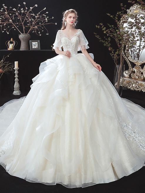 Ivory Tulle V-neck Puff Sleeve Appliques Beading Wedding Dress