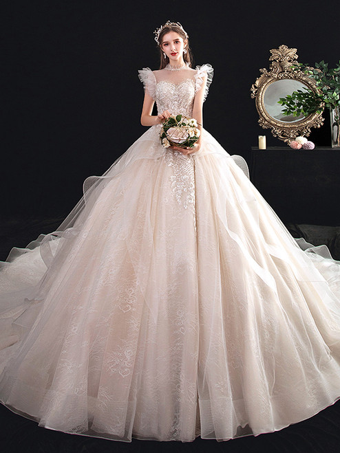 Illusion Neck Tulle Lace Backless Pearls Wedding Dress