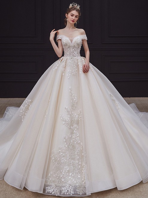 Ball Gown Sequins Tulle Off the Shoulder Beading Wedding Dress