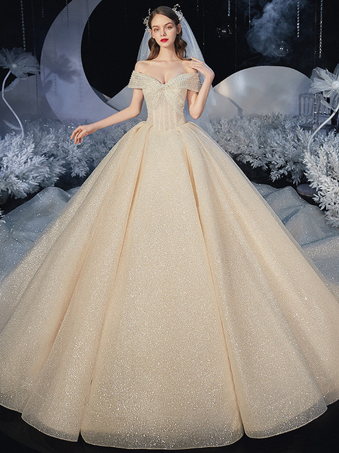 Champagne Tulle Sequins Beading Off the Shoulder Wedding Dress