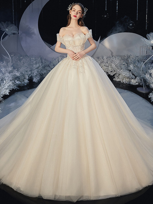 Ball Gown Tulle Beading Sequins Wedding Dress