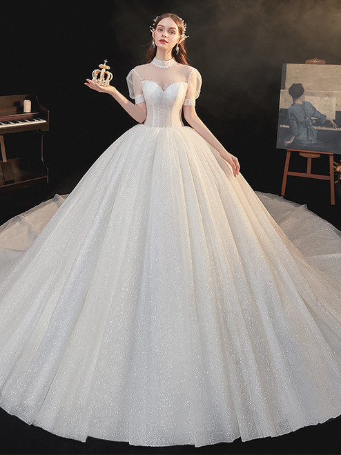 Ball Gown Tulle Sequins High Neck Puff Sleeve Wedding Dress