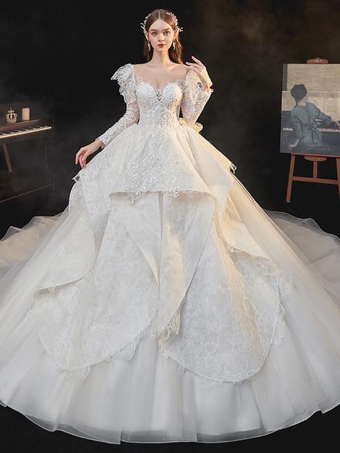 Tulle Lace Long Sleeve Beading Wedding Dress