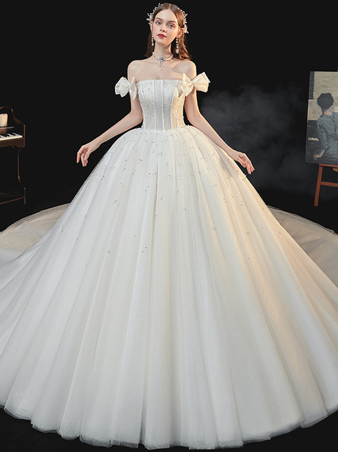 Champagne Tulle Sequins Pearls Off the Shoulder Wedding Dress