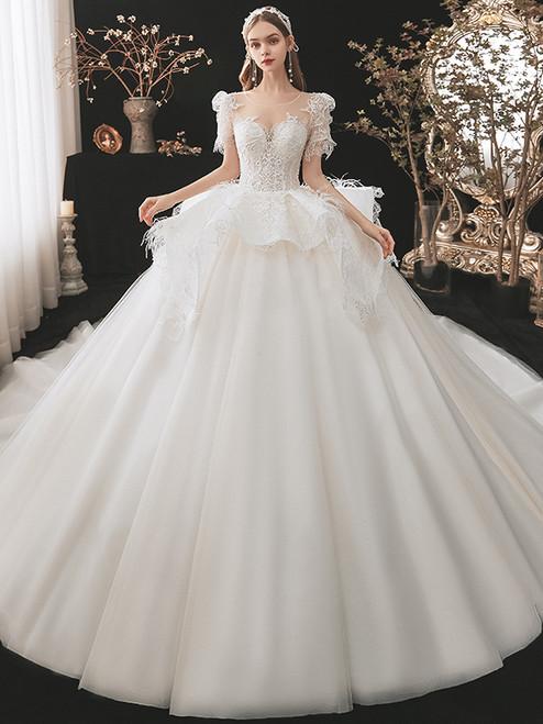 White Tulle Lace Puff Sleeve Beading Wedding Dress