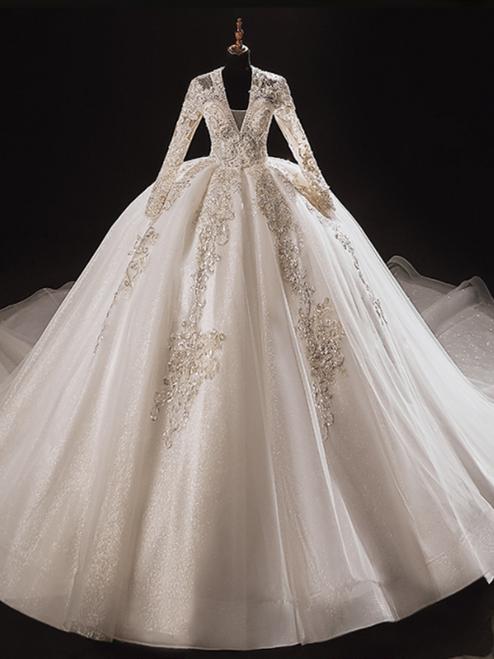 White Tulle V-neck Long Sleeve Beading Wedding Dress