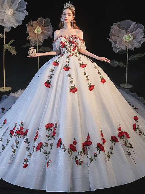 White Tulle Rose Appliques Off the Shoulder Wedding Dress