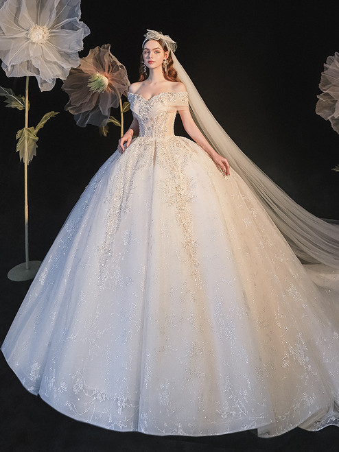 Ball Gown Tulle Sequins Off the Shoulder Beading Wedding Dress