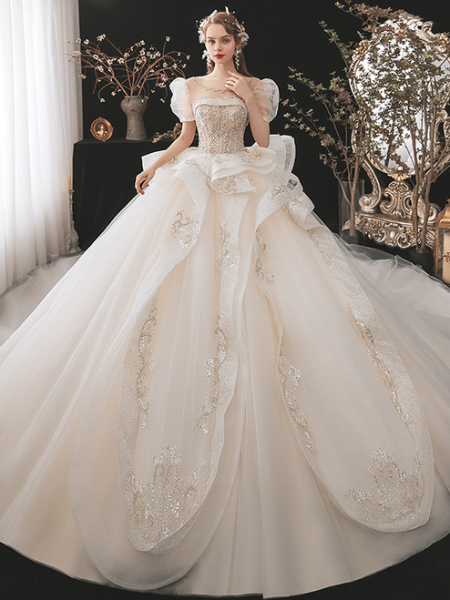 Tulle Sequins Puff Sleeve Backless Beading Wedding Dress