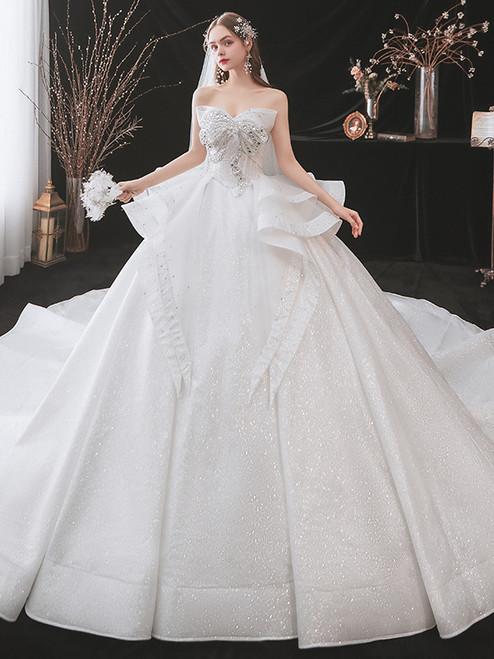 White Tulle Sequins Strapless Crystal Wedding Dress