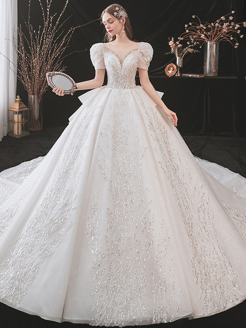 Tulle Sequins Appliques Puff Sleeve Wedding Dress With Train
