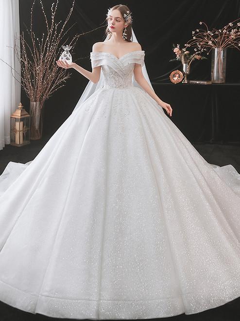 White Sequins Off the Shoulder Pearls Wedding Dress