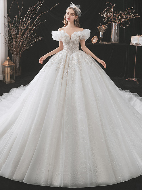White Tulle Lace Sequins Appliques Beading Wedding Dress