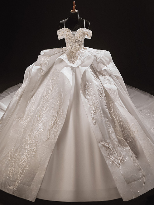 White Tulle Sequins Beading Appliques Spaghetti Straps Wedding Dress