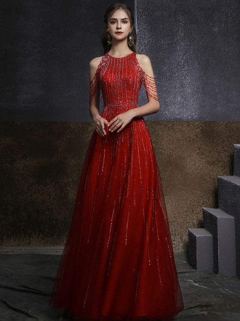 A-Line Burgundy Tulle Beading Sequins Prom Dress