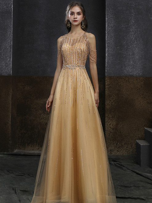 Gold Tulle Beading Sequins Formal Prom Dress