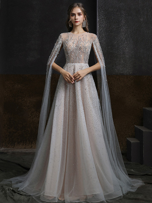 Gray Tulle Beading Beading Sequins Prom Dress
