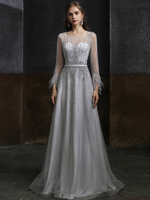 Silver Gray Tulle Illusion Long Sleeve Beading Feather Prom Dress