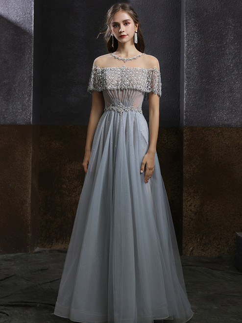 Gray Tulle Beading Sequins Long Prom Dress