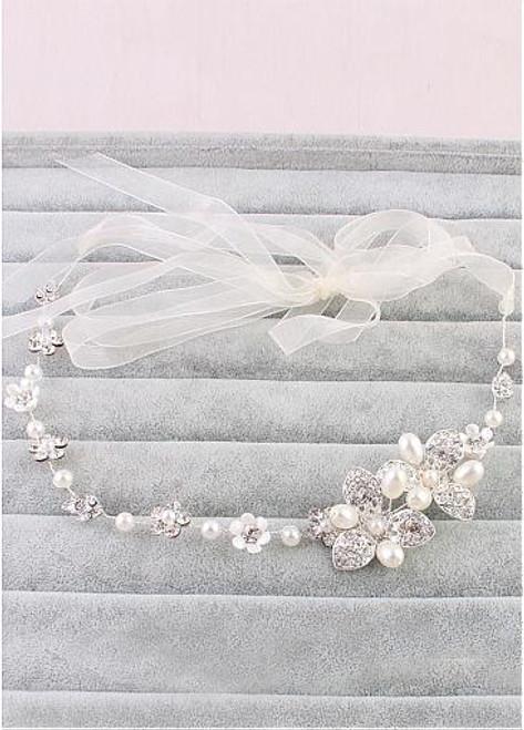 Wedding Hair Ornament With Rhinestones & Pearls