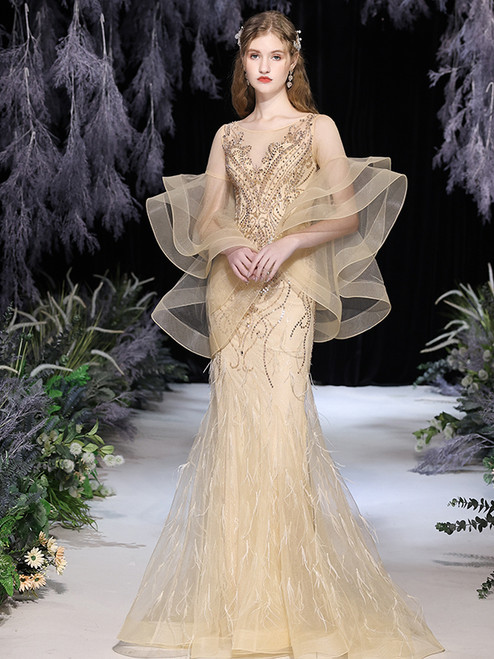 Champagne Mermaid Tulle Long Sleeve Beading Feather Prom Dress