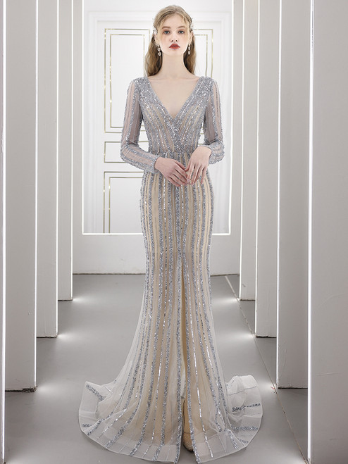 Silver Mermaid Long Sleeve Beading Sequins Prom Dress