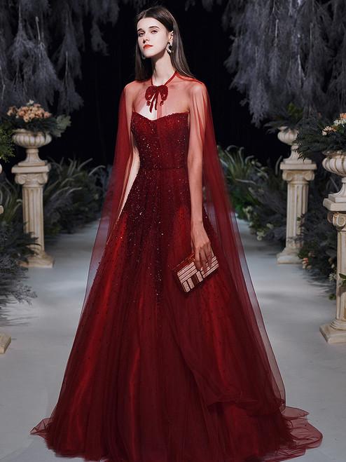 Burgundy Tulle Strapless Beading Sequins Prom Dress