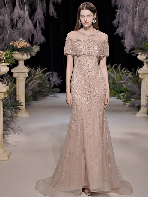 Champagne Mermaid Luxury Heavy Beading Sequins Prom Dress